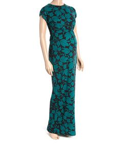 This Teal Leaf Cap-Sleeve Maternity Maxi Dress - Women is perfect! Cute Maternity Dresses, Maternity Fashion, Maternity Maxi, Plus Size Pregnancy, Cap Sleeves, That Look, Teal, Elegant, Clothes