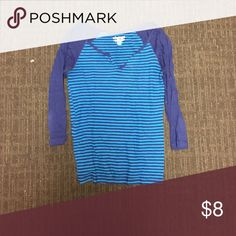 Old Navy 3/4 sleeve Henley Blue stripes with solid blue sleeves, lightly worn Old Navy Tops Tees - Long Sleeve