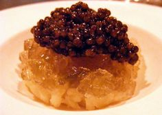 Caviar with potato and pickle at Atera, NY. (Photo by: The Food Doc)