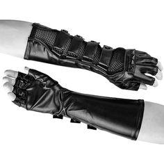Black Leather Spike Tipless Steam Punk Motorcycle Long Gloves Men SKU-71102051