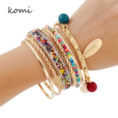 KOMi Fashion Bangles For Women 2016 Luxury Crystal Colorful Beads Elegant Gold Color Bracelets & Bangles With Leaves O-073 #Affiliate