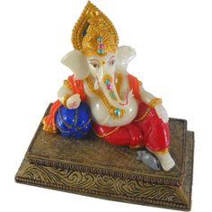 Sitting Mukut Gaddi Ganesh / Ganesha / Ganpati Statue Marble