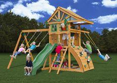 Kids Outdoor Swing Set Wood Canopy 2 Swings Glider Rock