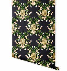 Pineapple (Ebony) Metallic Screen Printed, Rifle Paper Co