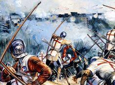 Aunque el uso de la artillería ya está documentado en Europa en la Baja Edad Media (como mínimo desde el siglo XIII, si bien en China se conservan dibujos de una bombarda del año 1128), su uso se limitaba a los asedios de plazas fuertes y rara vez en batalla campal. Fue a partir del período rena