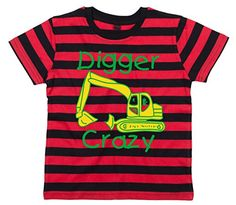 335741240 DIGGER CRAZY' DESIGN 2 Children's Striped T-Shirt: Amazon.co.uk: Clothing
