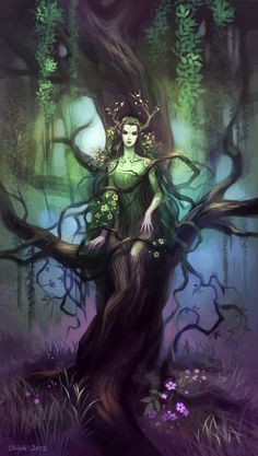 The forest spirit Liliaoniia comes out of a tree in the Ellinwir forest, revealing herself for a group of adventurers. Fantasy Magic, 3d Fantasy, Fantasy World, Magical Creatures, Fantasy Creatures, Elfen Fantasy, Nature Spirits, Fairy Art, Green Man