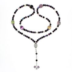 This 108-bead Amethyst, Hematite, Onyx, and Fluorite mala is designed for the Solar Plexus (3rd) and Crown (7th) chakras, this mala carries with it the intention of self-mastery. Break yourself free of those bad habits.
