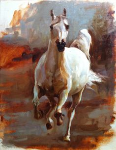 Running White Horse Original oil painting by FinchArts on Etsy