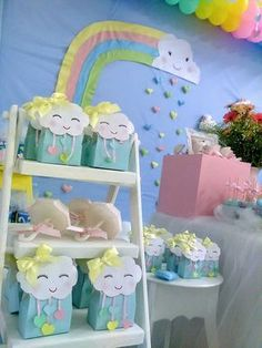 Baby Gifts Gender Neutral Shower Ideas New Ideas Rainbow Birthday Party, Rainbow Theme, Unicorn Birthday Parties, Unicorn Party, First Birthday Parties, Birthday Ideas, Birthday Gifts, Fiesta Baby Shower, Baby Shower Parties