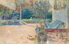 """Carl Larsson ~ """"Min gårdsplan"""", 1905 ~ Watercolour"""