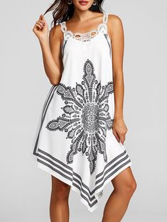 Lace Panel Tribal Print Flowy Dress - WHITE XL Lace Summer Dresses 767fe9442