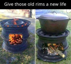 DIY fire pit made from old upcycled rims