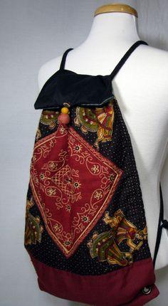 Cinch Sack Drawstring Backpack OOAK Yoga bag Lightweight Carry-all ToteBag Gym Bag Back Pack by ReinventedThreads on Etsy