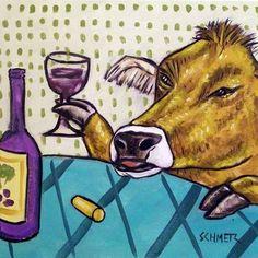 COW WINE FARM ANIMAL CERAMIC gift art tile coaster