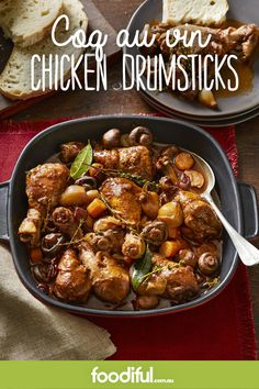Serves 6 A classic French dish gets a modern twist by using all drumsticks - the kids will love it! Hoisin Chicken, Chicken Drumsticks, Kung Pao Chicken, Classic French Dishes, Moroccan Chicken, Honey Mustard, Chicken Casserole, Dinner Tonight, Poultry