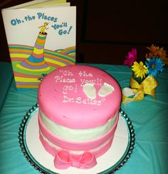 Dr. Seuss Cat in Hat pink cake for girl Baby Shower ! Theme : Oh the places you'll go !