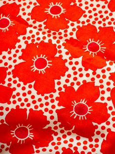 vintage red flower fabric