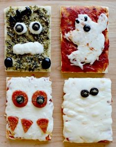 October is National Pizza Month! What better way to celebrate than by bringing Halloween in and making spooky homemade pizzas? Use this recipe to help kids make their own hauntingly delicious Halloween pizzas. Pizza Halloween, Humour Halloween, Homemade Halloween, Halloween Food For Party, Halloween Treats, Family Halloween, Holiday Treats, Holiday Recipes, Buffet