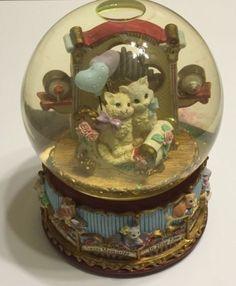 San Francisco Music Box Company Cat Themed Musical Snow Globe Carousel Waltz