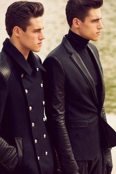 By the double Twin models Zaz and Jordan Stenmark captured by Nacho Alegre and outfitted by David Vivirido for the Fall/Winter issue of Hercules magazine. Outfits Casual, Mode Outfits, Black Outfits, Winter Outfits, Sharp Dressed Man, Well Dressed, Coat Dress, Men Dress, Twin Models
