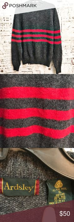 """Vintage Ardsley Shetland Wool Red Stripe Sweater Beautiful vintage shetland wool sweater by Ardsley! RN shows this sweater to be a Bradlees brand. Boyfriend style with ribbed neckline and bottom hem and cuffs. Gorgeous gray body with three vibrant red stripes across the torso. Approx. measurements: 21.5"""" flat armpit to armpit, 16"""" armpit to bottom hem, 27"""" shoulder to bottom hem. Excellent condition with no rips, stains, hole or odors. Vintage Sweaters"""