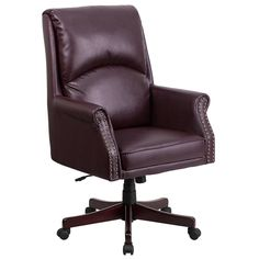 Burgundy Leather Office Chair Executive