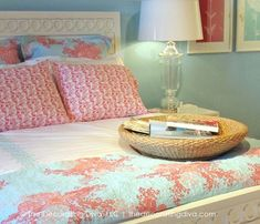Color Inspiration: Summery Aqua & Coral Bedding - Decorating Diva