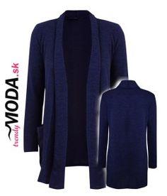 Tmavomodrý predĺžený pletený sveter / kardigán-trendymoda.sk Blazer, Jackets, Fashion, Down Jackets, Moda, Fashion Styles, Blazers, Fashion Illustrations, Jacket
