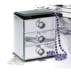 Allure by Jay Glass Mirrored 2 Drawer Jewelry Box