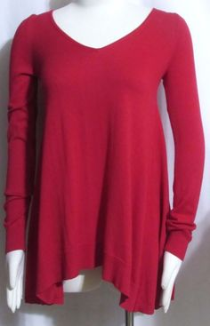 NEW Womens Ladies MACY'S INC Red Cotton Blend Aysmmetrical Tunic Sweater XS #INCInternationalConcepts #AsymmetricalHemTunic #Versatile