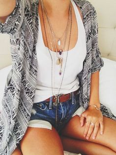 Pair a #Sevenly tank with a cute kimono and layered necklaces; shorts WAY to short