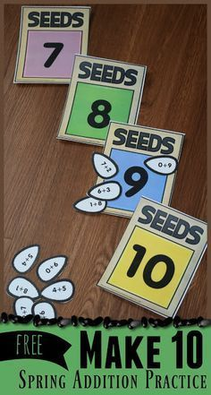 FREE Make 10 Seeds Activity - free printable, hands on, educational spring addition practice for preschool, kindergarten and first grade kids. Perfect for summer learning activities and math centers Addition & Subtraction for Kids Math For Kids, Fun Math, Math Games, Counting Games, Kindergarten Centers, Preschool Kindergarten, Kindergarten Addition, Preschool Crafts, Spring Activities