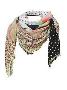 Foulard à motif léopard et étoiles - effet patchwork