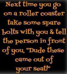 Hey *James* , *Mathew* and *My Other Kids On Facebook*.... I don`t ride roller coasters, but I got such a kick out of this,:D :D :D ! I just had to share in case you needed a laugh :D !