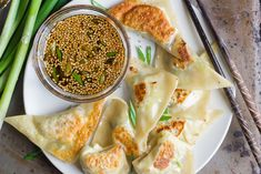 These crispy pot stickers are filled with a gingery mixture of Brussels sprouts and shiitake mushrooms, and served up with a sweet soy dipping sauce. Crispy Sweet Potato, Vegetarian Recipes, Healthy Recipes, Vegetarian Cooking, Vegan Food, Healthy Food, Bite Size Appetizers, Wonton Wrappers, Asian Recipes