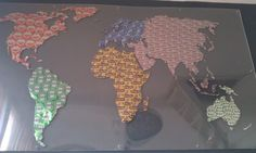 We made a Map of the World out of beer cans.. :-) #BoysArt.. its 3 by 1,5 meters big