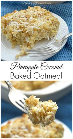 Pineapple Coconut Baked Oatmeal - a delicious and healthy breakfast or brunch recipe. Tastes like pineapple upside down cake! YUM!