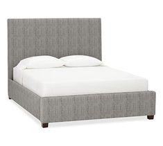 Raleigh Upholstered Square King Bed without Nailheads, Sunbrella(R) Performance Sahara Weave Charcoal