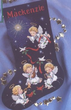 Musical Angels Stocking Dimensions Creative Accents 2001 Cross Stitch Kit 7960 for sale online Cross Stitch Christmas Stockings, Cross Stitch Stocking, Cross Stitch Angels, Christmas Stocking Holders, Xmas Cross Stitch, Xmas Stockings, Cross Stitch Charts, Counted Cross Stitch Patterns, Cross Stitch Designs