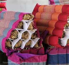 What's inside a Thai triangle pillow? Rice straw of course.