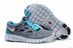 Nike Free Run 2 Cool Grey White Anthracite Chlorine Blue Women's Running Shoes - Click Image to Close