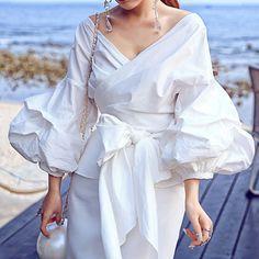 2016 New European Style Women Kimono Bandage Tops Blouses Ladies Puff Sleeve Travel Casual Wear Shirts Blusas Feminino Fashion 2017, New Fashion, Womens Fashion, Style Fashion, Queen Fashion, Sporty Fashion, Female Fashion, Ladies Fashion, Fashion Ideas