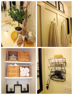 Finishing touches for bathroom. Use a magazine rack to store hair dryer and flat iron.