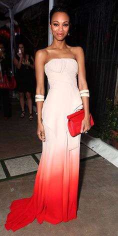 Zoe Saldana    WHAT SHE WORE    Saldana played up the colors of her ombre Givenchy couture gown with a bold red clutch and nude double cuffs