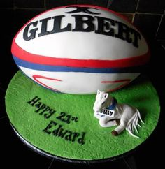 Rugby ball birthday cake with pony