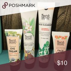 Brand New: Travel Size Eye Creme, Body Lotion, Face Cleanser, Face Lotion. Will come with a free cosmetic bag. Create a bundle for BETTER savings! Nourish Organic Makeup