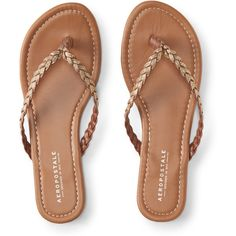 Aeropostale Braided Glitter Flip-Flop (35.625 COP) ❤ liked on Polyvore featuring shoes, sandals, flip flops, gold, braided sandals, strappy flip flops, special occasion sandals, evening shoes and aeropostale sandals