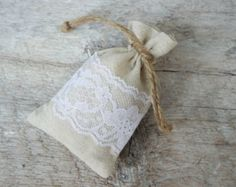 10 Linen and Lace Drawstring Favor Bags by SarahNanDesigns on Etsy