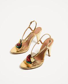 Elegant, Highly Sought After ZARA High Heel Golden Sandals. Multi-Strap Detail On The Instep With Fruit Detail. Snakeskin Heels, Gold Heels, Zara Shoes, Shoes Heels, Heeled Sandals, How To Tie Shoes, Golden Sandals, Zara Gold, Bridal Heels